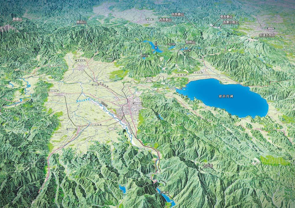 会津地方鳥瞰図